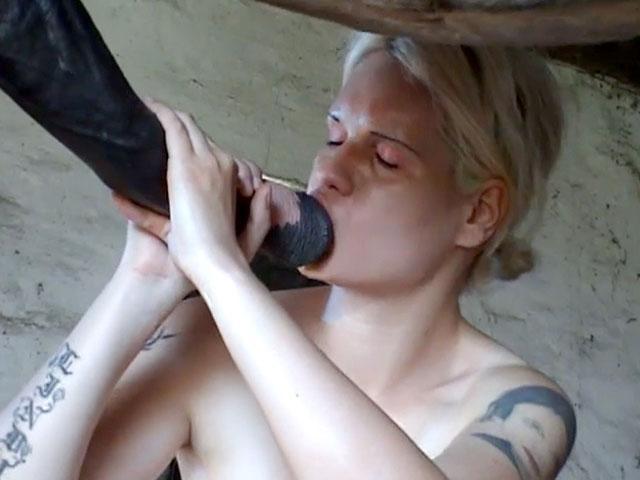 두 여자가 말을 섹스